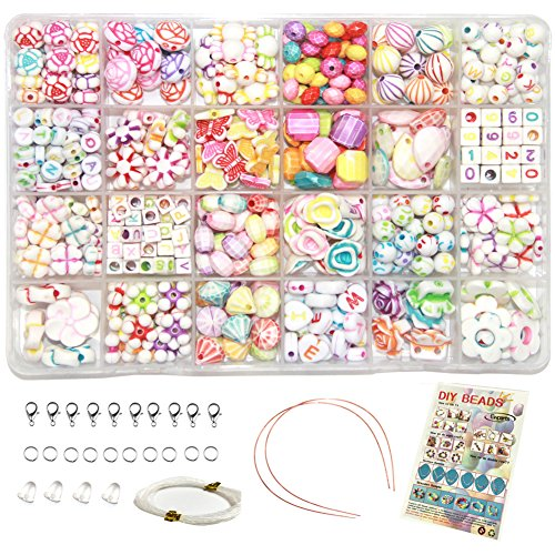 Ewparts 24 In 1 Brief Perlen Set für Schmuck Machen Kinder, Kinder Handwerk DIY Halskette Armbänder Brief Alphabet Bunte Acryl Crafting Perlen Kit
