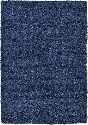 Modern Solid Plush 4-Feet by 6-Feet (4' x 6') Solid Shag Navy Blue Contemporary Area Rug