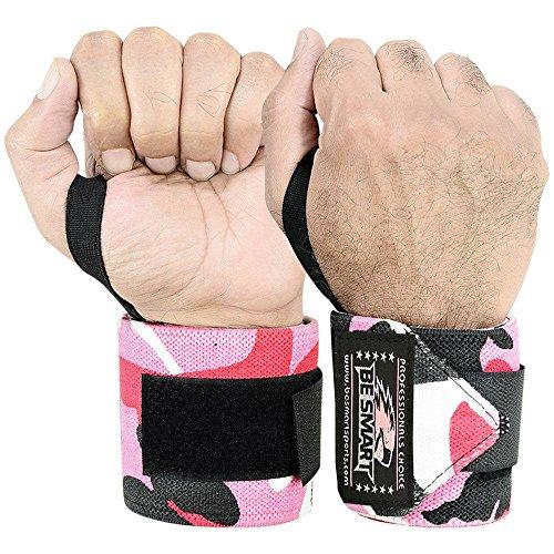 BeSMART Sollevamento di Pesi Polsini per Benda Mano Supporto Brace Palestra Cinghie Cotone, Uomo, Rosa Mimetico (Pink Camo)