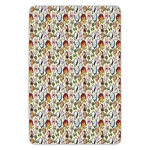 rwwrewre Bathroom Bath rug Kitchen Floor Mat Carpet Cartoon Animal Various Characters Cheerful Wildlife Comic Style Friendly Kids Design Unique Doormat