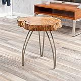 LEBENSwohnART Designer Beistelltisch/Couchtisch Living Edge Akazie Baumscheibe Massivholz rund