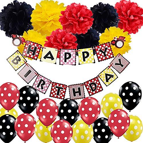 aus - Geburtstag Dekorationen - Happy Birthday Banner seidenpapier pom pom Blumen Punkte Ballons für Minnie Maus Party Dekoration liefert marienkäfer - Geburtstag ()
