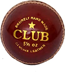 SanR Club Red Leather Cricket Ball