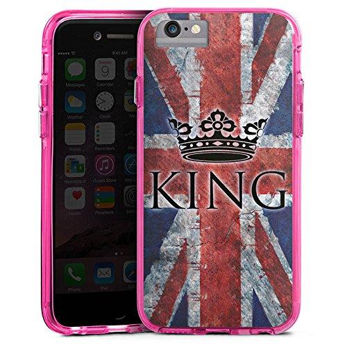 Apple iPhone 6s Plus Bumper Hülle Bumper Case Glitzer Hülle Union Jack Unionjack King Bumper Case transparent pink