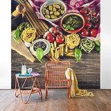 Vliestapete–Pasta–Wandbild quadratisch Tapete Wand Wandbild Foto Funktion 3D Tapete wall-art Tapeten Küche Wohnzimmer Dimension H: 192cm x 192cm