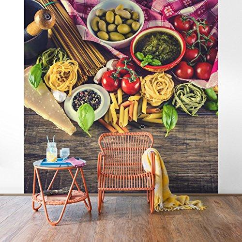 *Vliestapete–Pasta–Wandbild quadratisch Tapete Wand Wandbild Foto Funktion 3D Tapete wall-art Tapeten Küche Wohnzimmer Dimension H: 192cm x 192cm*
