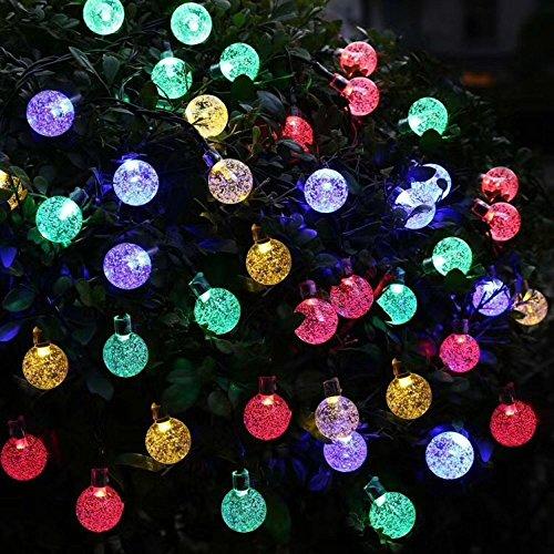 Solar powered outdoor lights amazon annengjin 30 led solar powered fairy lights outdoor christmas tree lights white crystal globe ball string lightsglobe multi colour workwithnaturefo