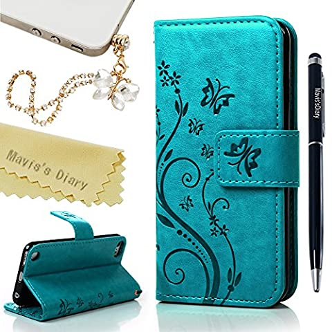 iPod Touch 6 Case,Touch 5 Wallet Case, Mavis's Diary Fashion Embossed Floral Butterfly PU Leather Flip Stand Cover & Wrist Strap Card Holders for iPod Touch 5th/6th Generation & Dust Plug & Pen - Turquoise
