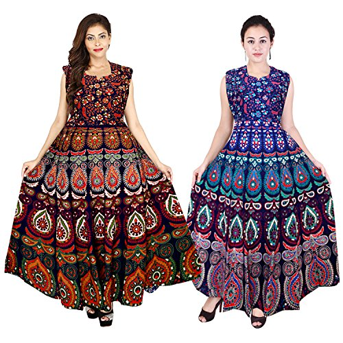 Mudrika Women's Cotton Jaipuri Long One Piece Dress (ComboFR_7727, Multicolour, Free Size) - Set of 2 pieces