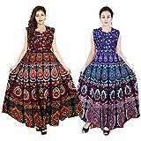 #8: Mudrika Women's Cotton Jaipuri Long One Piece Dress (ComboFR_7727, Multicolour, Free Size) - Set of 2 pieces