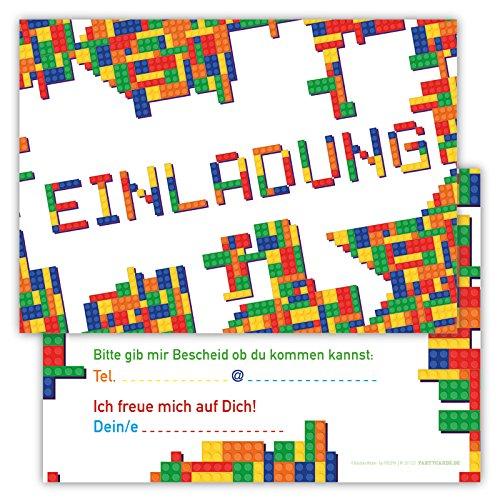 skarten Set Kindergeburtstag Party Blöcke Bausteine Jungen Mädchen Kinder Geburtstagseinladungen Bauklötze Feier Bricks (Karte Von Party City)