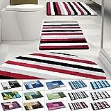 Design Badematte | rutschfester Badvorleger | viele Größen | zum Set kombinierbar | Öko-Tex 100 zertifiziert | viele Muster zur Auswahl | Gestreift - Rot (70 x 120 cm)