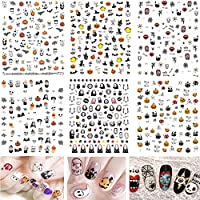 6 Sheets Halloween Nail Art Stickers Decals, Mwoot 3D Self-Adhesive Stickers for Women Manicure DIY or Nail Salon (More than 600Pcs)