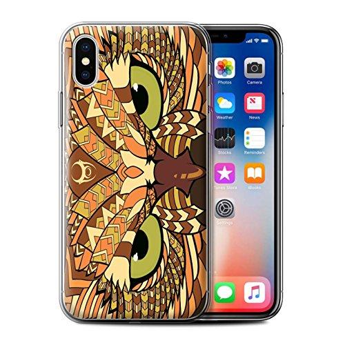 Coque Gel TPU de STUFF4 / Coque pour Apple iPhone 7 Plus / Loup-Bleu Design / Motif Animaux Aztec Collection Hibou-Orange