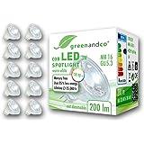 10x greenandco® CRI 90+ LED-spot vervangt 20 Watt MR16 GU5.3 halogeenspot, 3W 200 lumen 2700K warm wit 38° 12V AC/DC, niet di