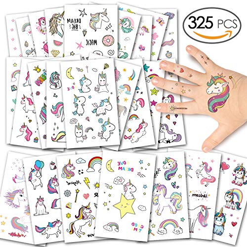 Alintor Einhorn Kinder Tattoos, Glitzer Tattoo Set Kinder Temporäre Tattoos Aufkleber Geschenke für Mädchen Kindergeburtstag Party Wasserdicht Sticker Über 300 Tattoos