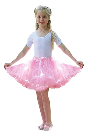 Girls Frothy Tutu Skirt Childrens Ballerina Fancy Dress Accessory Pink And Ivory Amazoncouk Clothing