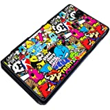 Colourful sticker bomb print, Design Sony Xperia Z L36h L36i Coque arriere Coque Case