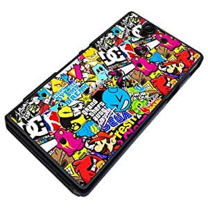 Colourful sticker bomb print, Design Sony Xperia Z L36h L36i Coque arriere Coque Case