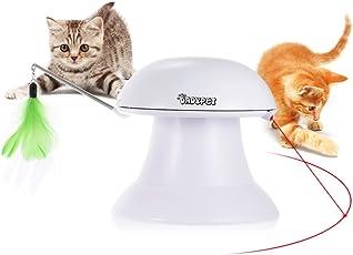 Katzen Federspielzeug, Dadypet Katzenspielzeug Elektrisch Katzenspielzeug Federstab Intelligenzspielzeug Katzenspiel Drehen Feder Spielzeug 360° Drehung mit Gefieder (Weiß)