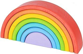 Chitrani's 7-Piece Rainbow Stacker - Nesting Wooden Waldorf Blocks, Elements of Nature