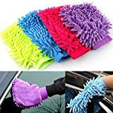 #8: Super Soft Hand Glove (Pack of 1) Duster Washing Mitt Single Side Gloves (Random Color will be shipped)