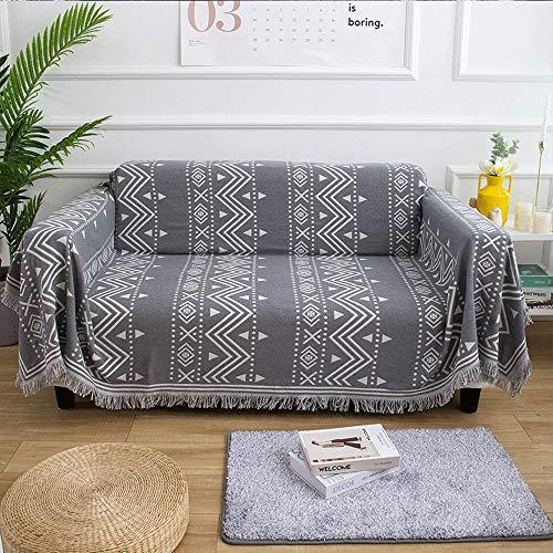 Liuxiaomiao Decke werfen 100% Baumwolle Grau Gewebte Decke Multifunktionale Freizeitdecke Nickerchen-Decke Reisedecke for klimatisierte Räume Reisebettwäsche (Color : Gray, Size : 230cmx250cm) -