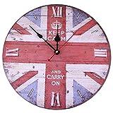 Soledi Horloge Murale Ronde Rustique Pays-Style - 12 inch Union Jack...