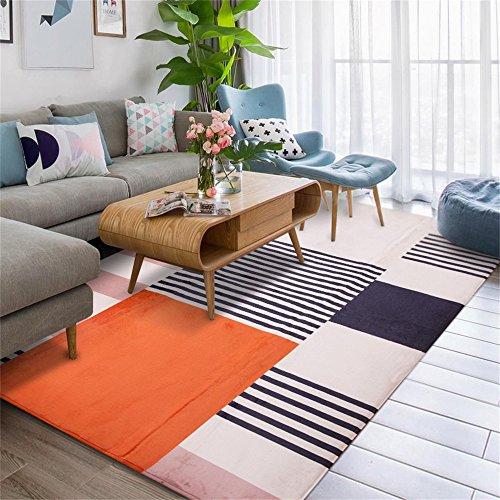 Alfombra antideslizante de diseño nórdico Alfombra de diseño Nórdico Moderno Simple Sala de estar Mesa de café Dormitorio Alfombra de la cama Inicio Alfombrilla rectangular en Salón / dormitorio de DT-Carpet Runner ( Color : Naranja , Tamaño : 120*180cm )