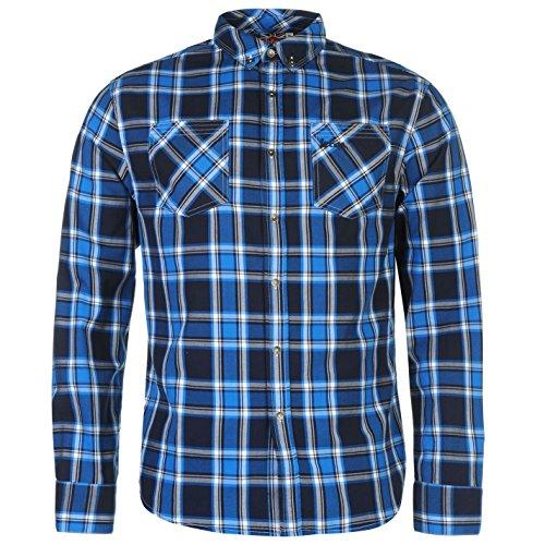 Lee Cooper Harlington Herren Kariert Hemd Langarm Baumwolle Freizeit  Karohemd Blau