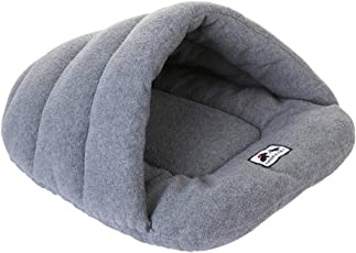 POPETPOP Pet House Cushion, Dog Cat Soft Warm Cave Bed, Cotton Plush Pet Sleeping Bag for Puppy Kitten - Size S (Grey)