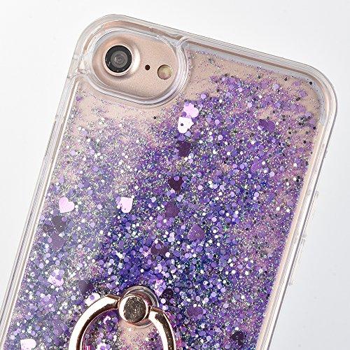 Voguecase Pour Apple iPhone 7 4,7, Dual Layer Luxe Flowing Bling Glitter Sparkles Quicksand et les étoiles Hard Case étui Housse Etui avec Support de Bague(Sable de diamante-Pink) de Gratuit stylet l' Amour Quicksand-Violet
