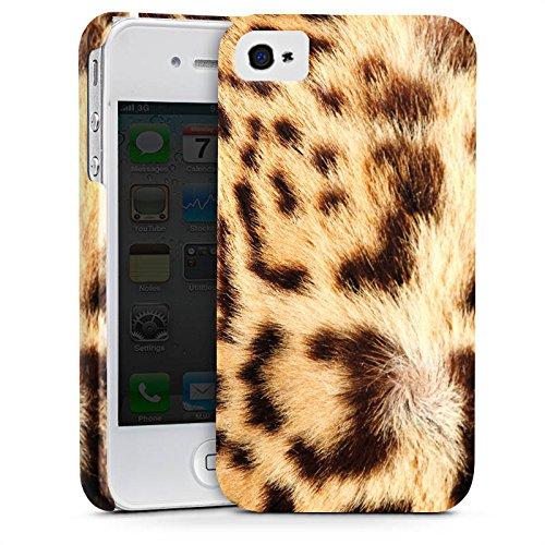 Apple iPhone 4 Hülle Premium Case Cover Leopard Raubkatze Fell (Leopard-druck Iphone 4 Case)