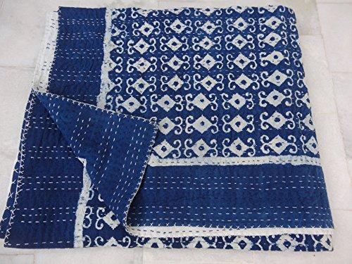 Tribal asian textiles block print queen size kantha quilt, kantha blanket, bed cover, king kantha copriletto, bohemian bedding kantha dimensioni 228,6x 274,3cm 1111