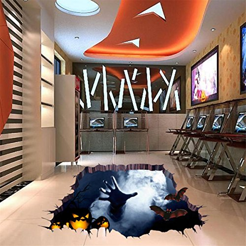 Sunnywill 3D Happy Halloween Haushalt Zimmer Boden Wand Aufkleber Wandbilder Dekor Aufkleber (Dekor Halloween Vintage)
