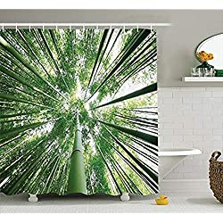 YULIANGE Dekor Duschvorhang Tropical High Forest Bambusbäume In Exotischen Hain Asiatischen Natur Zen Bad-Accessoires-130 * 200Cm