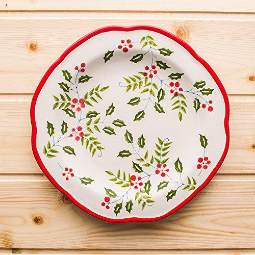 YUWANW 8.5 In Den Usa Von Hand Bemalte Keramik Platten Westliches Frühstück Im Herzen Von Kreativen Gerichte Gerichte, 8,5-Zoll Holly Tastatur [M] Porzellan. -