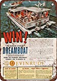 Shimeier Evinrude Outboard Motors Contest Retro Vintage Tin Sign Coffee House Business Dining Room Pub Beer 20 cm x 30 cm