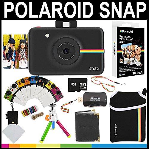 Polaroid - fotocamera istantanea snap (nero) + 30 fogli di carta zincata 2x3 + custodia in neoprene + cornici fotografiche + album fotografico + scheda di memoria da 8gb + pacchetto accessori