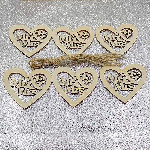 Gaddrt nuovo 10pcs incompiuto in legno taglio laser cuore forme artigianali abbellimenti deco-per appendini, cartellini, creazione di carte, abbellimenti, prenotazione rottami (a)