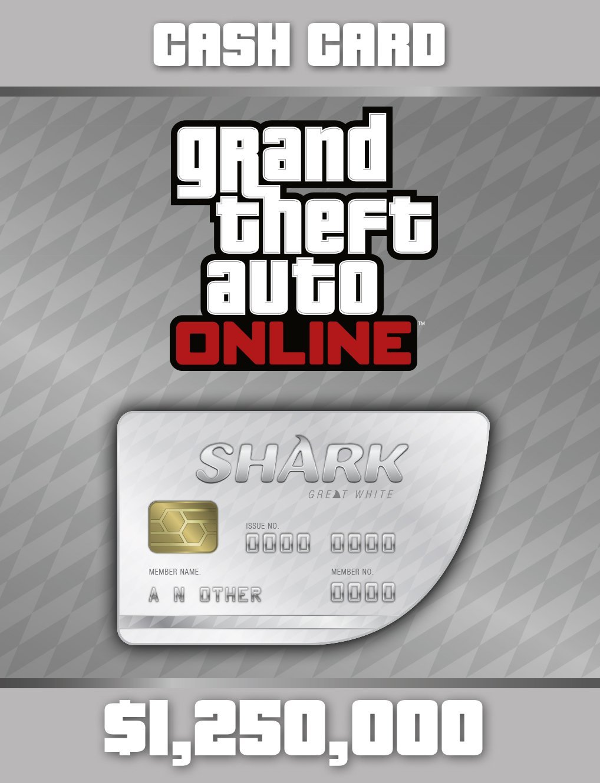 Grand Theft Auto Online   GTA V Great White Shark Cash Card   1,250,000 GTA-Dollars [PC Code]