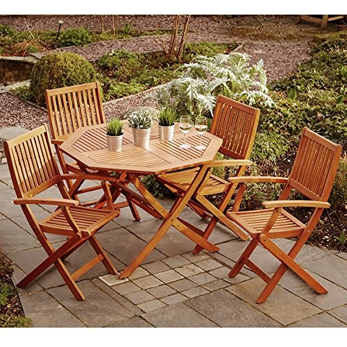 Robert Dyas Wooden Garden Furniture Set, 4 Seat Folding Patio Table & Chairs Ideal For Outdoor Living and Dining, Hardwood FSC Approved Eucalyptus Wood.