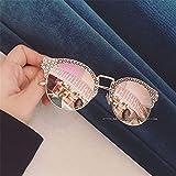 TYJshop Sonnenbrille Männer und Frauen Metall Hohlseite Einfache Mode Farbe Film Gläser,Roségold