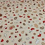 Stoff Weihnachtsstoff Baumwolle Polyester Rips natur