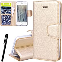 WE LOVE CASE iPhone 5S / 5 / SE Cover Wallet Vintage Style iPhone 5S / 5 / SE Custodia Pelle Flip Oro Copertura PU Leather Inter Silicone TPU Bumper Antiurto Protettiva Portafoglio Bookstyle con Supporto di Libro Stand Backcover Elegante Belle Donna Caso e Carte Slot + Chiusura Magnetica + Stylus Pen Cover per Apple iPhone 5S / 5 / SE