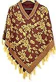#4: Woolly Women's Wool Ponchos & Cape (Rs1018Maroon/Camel_Maroon_Free Size)