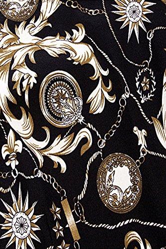 Babyonline® Damen Ärmellos Knielang Vintage Swing 20er Jahre ROCK Rockabilly Pinup Faltenrock Abendkleider S~XXL Schwarz02-Ohne Arm Arm
