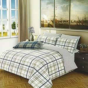 EL Parure de lit à carreaux Housse de couette/drap-housse/taie d'oreiller Bleu marine