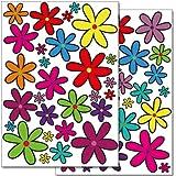 Pegatinas para la pared Wandkings «Flores de colores, modelo 1» - Juego de adhesivos de 56 unidades en 2 hojas DIN A4