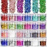 ANDERK 24 Colori Assortiti Set di Polvere Glitter per Unghie, Glitter Cosmetici Lustrini 3D Brillantini Decorazioni per Ombretto,Trucco, Nail Art
